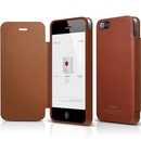 Elago S5 Leather Flip Case Limited Edition - калъф от естествена кожа + HD покритие за iPhone 5, iPhone 5S, iPhone SE