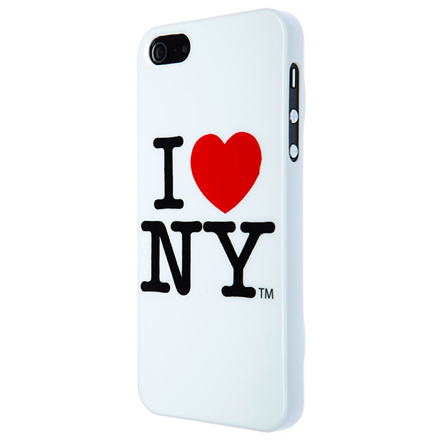 I love New York (I♥NY) Case - поликарбонатов кейс за iPhone 5, iPhone 5S, iPhone SE (бял)