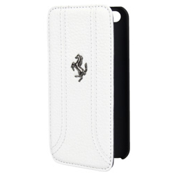 Ferrari FF Series Book-Flip-Case - кожен флип кейс тип портфейл за iPhone 5, iPhone 5S, iPhone SE (бял)