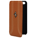 Ferrari FF Series Book-Flip-Case - кожен флип кейс тип портфейл за iPhone 5, iPhone 5S, iPhone SE (кафяв)
