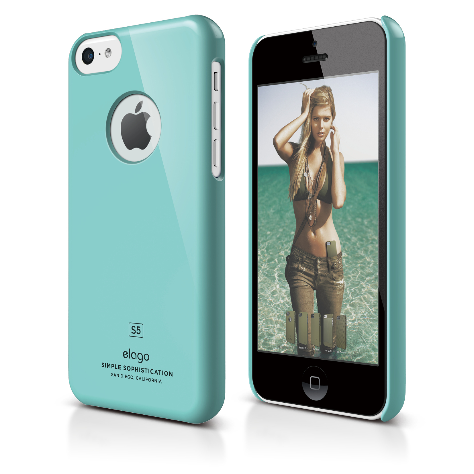 Elago C5 Slim Fit Case + HD Clear Film - кейс и HD покритие за iPhone 5C (светлосин)