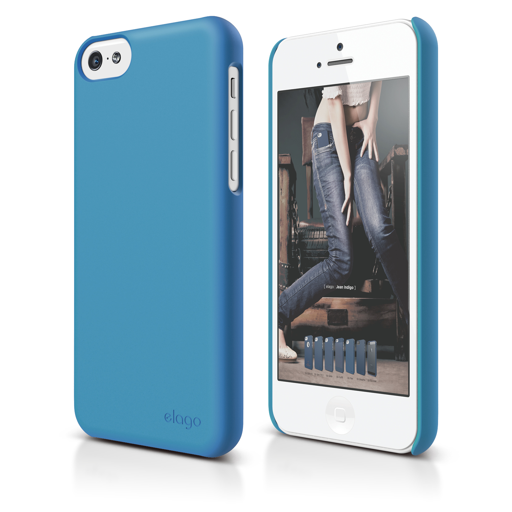 Elago C5 Slim Fit 2 Case + HD Clear Film - кейс и HD покритие за iPhone 5C (син-матиран)