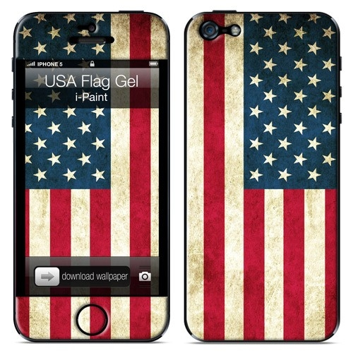 iPaint USA Flag Gel Skin - уникален дизайнерски 3D скин за iPhone 5S, iPhone 5, iPhone SE
