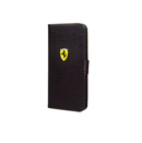 Ferrari New Challenge Series Book-Flip Case - кожен калъф, тип портфейл за iPhone 5, iPhone 5S, iPhone SE (черен)