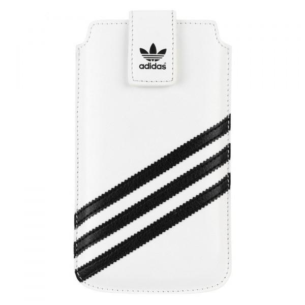 Adidas Universal Sleeve XXL - кожен калъф с лента за издърпване за Samsung Galaxy S4, HTC One, Nokia Lumia 920, Blacberry Z10 и др. (бял)