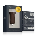 Elago C6 Dual USB Car Charger - зарядно за кола с два USB изхода за iPhone, iPad, Samsung, HTC и мобилни устройства (кафяв)