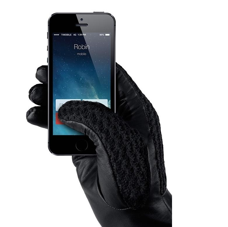 Mujjo Leather Crochet Touchscreen Gloves (8 size)