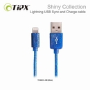 TIPX Sync and Charge Lightning Shiny - Lightning кабел за iPhone, iPad, iPod (1 метър) (син)