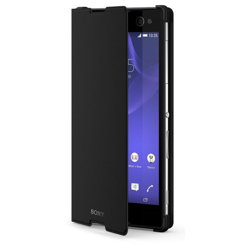 Sony Style Cover SCR15 - кожен кейс и поставка за Xperia C3 (черен)