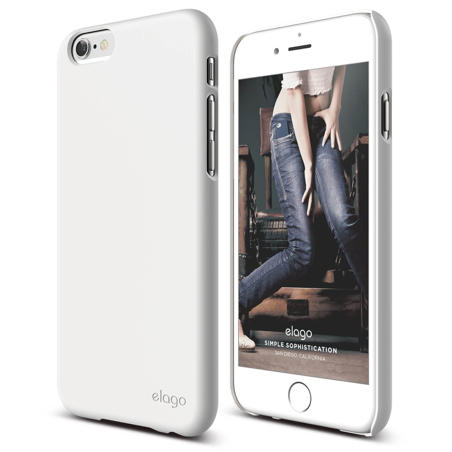 Elago S6P Slim Fit 2 Case + HD Clear Film - case and screen film for iPhone 6 Plus (white)