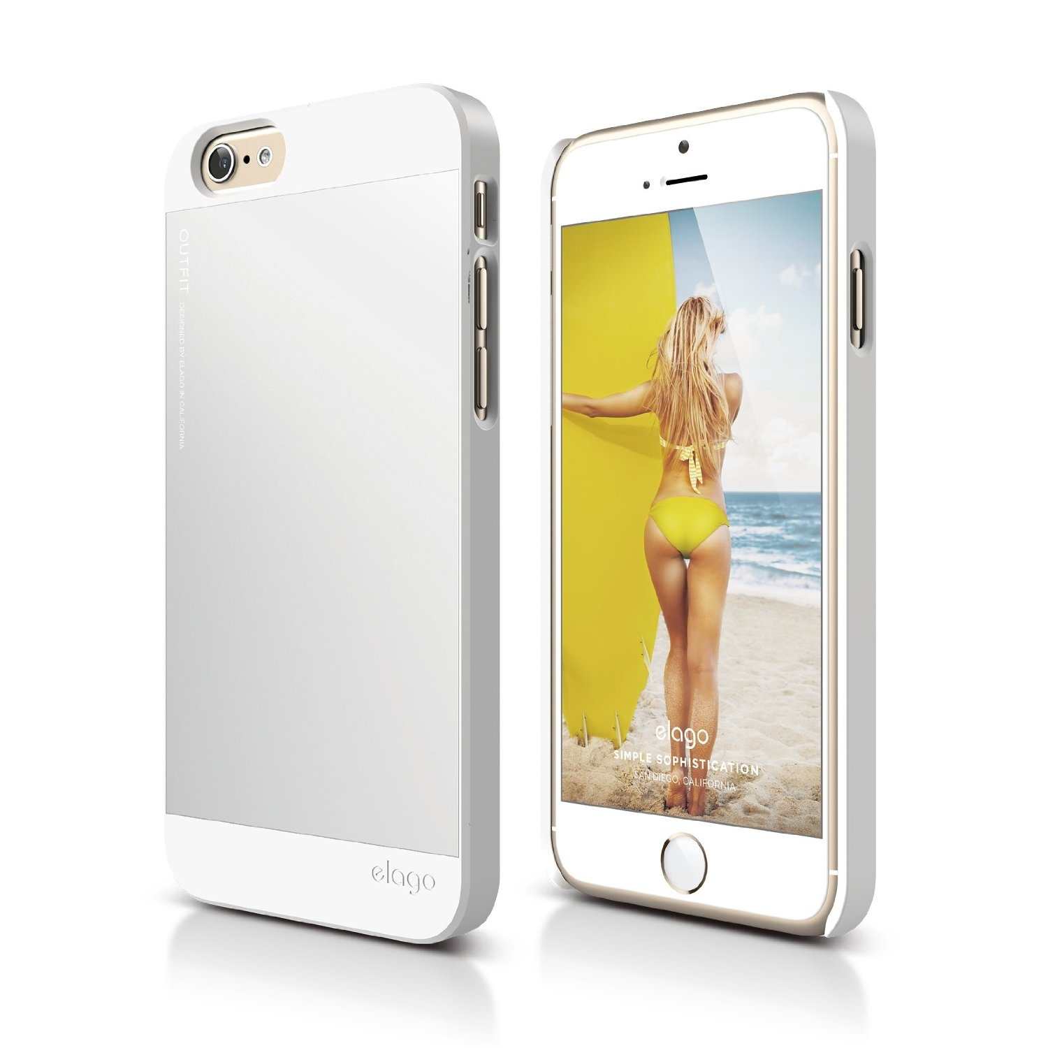 Elago S6P Outfit Aluminum + HD Clear Film - алуминиев кейс и HD покритие за iPhone 6 Plus, iPhone 6S Plus (бял)