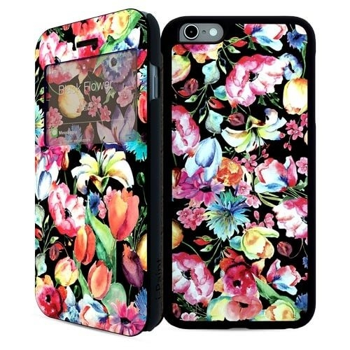 iPaint Black Flower DC Case for iPhone 6  Plus