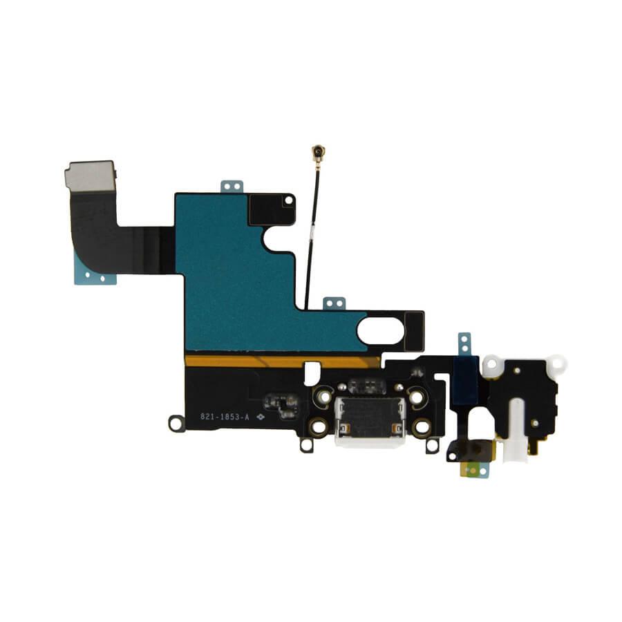 OEM System Connector and Flex Cable - лентов кабел с Lightning конектор, аудио жак и долен микрофон за iPhone 6 (бял)