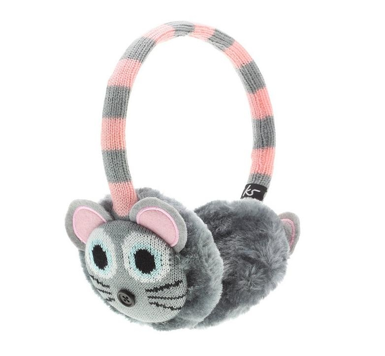 KitSound On-Ear Mouse Knit Audio Earmuffs - ушанки с вградени слушалки с 3.5 мм аудио жак за iPhone и мобилни устройства (сив)