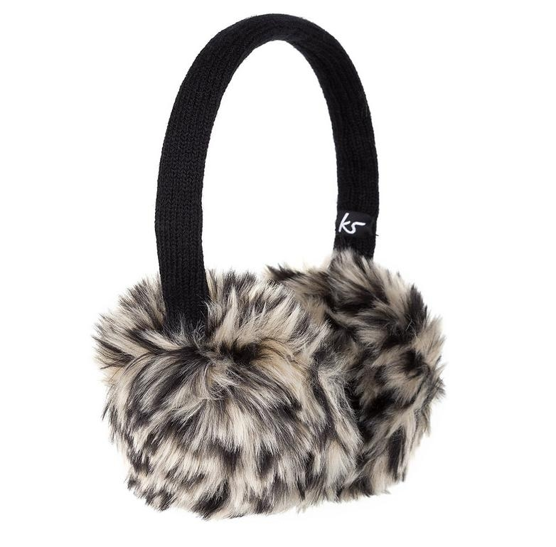 KitSound On-Ear Leopard Fur Audio Earmuffs - ушанки с вградени слушалки с 3.5 мм аудио жак за iPhone и мобилни устройства (черен)