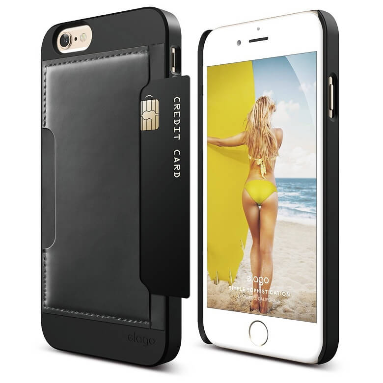 Elago S6 Outfit Genuine Leather Pocket Case for the iPhone 6, iPhone 6S (4.7inch) + HD Professional Screen Film included (black)