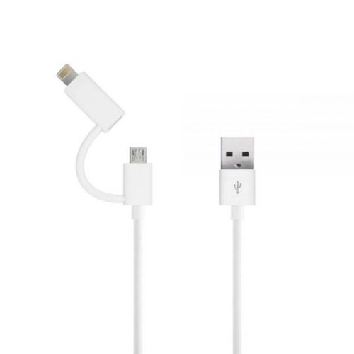 Just Wireless 2in1 Micro USB & Lightning Charge & Sync Cable for Apple and device with MicroUSB (white)