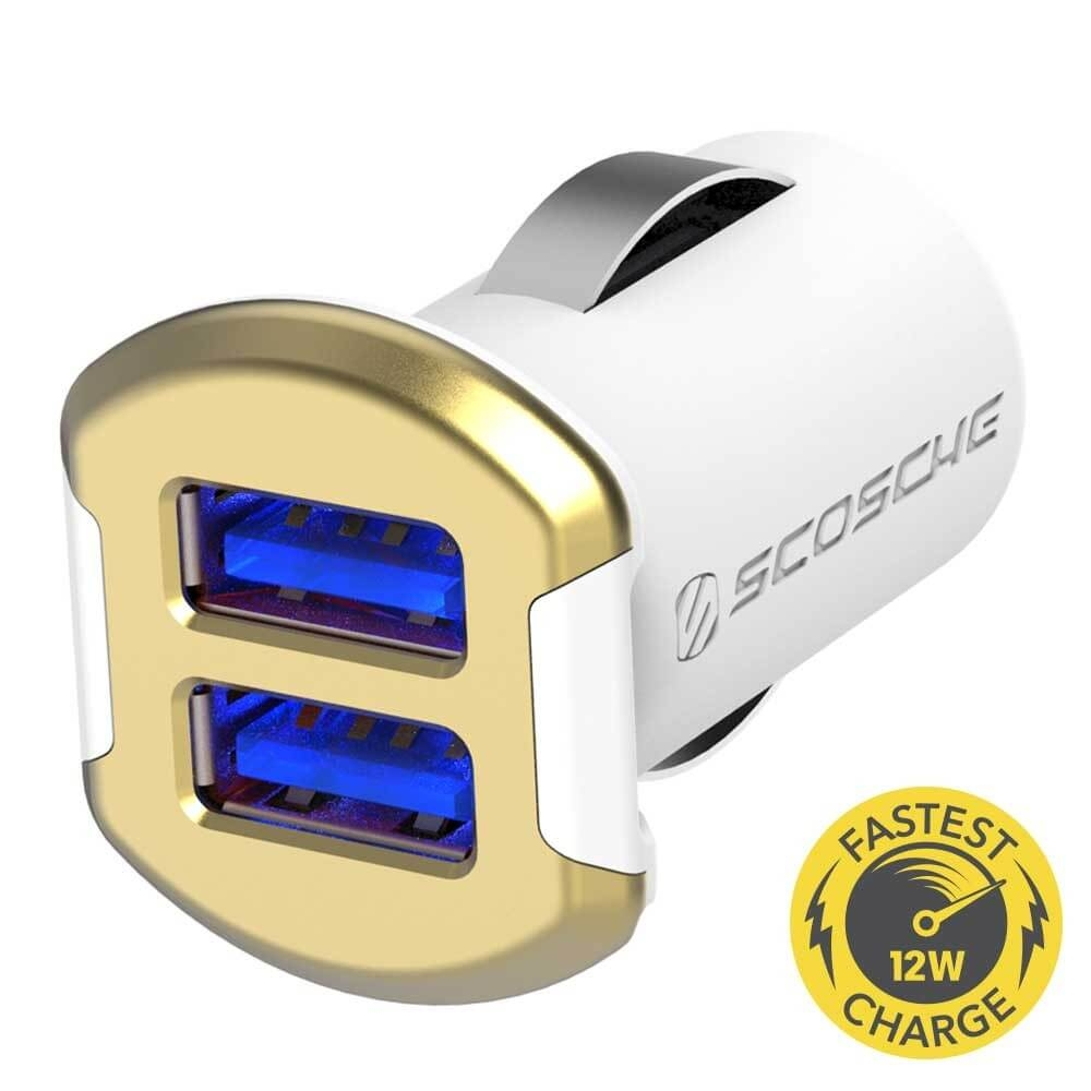 Scosche reVOLT 12W+12W Dual USB Car Charger for iPod, iPhone and iPad (12 Watts x 2 Ports) (gold)