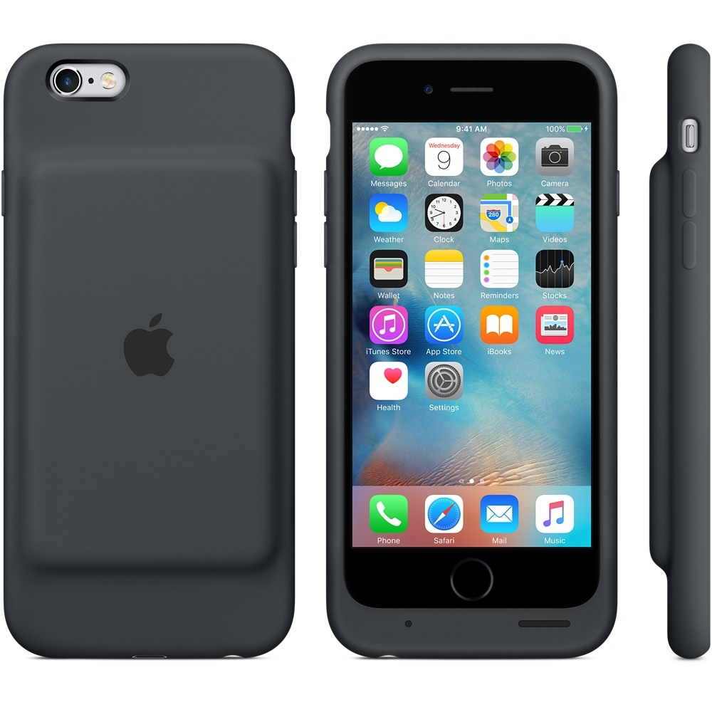 pretty nice 16a4b 96316 Apple Smart Battery Case for iPhone 6, iPhone 6S (Charcoal Grey ...