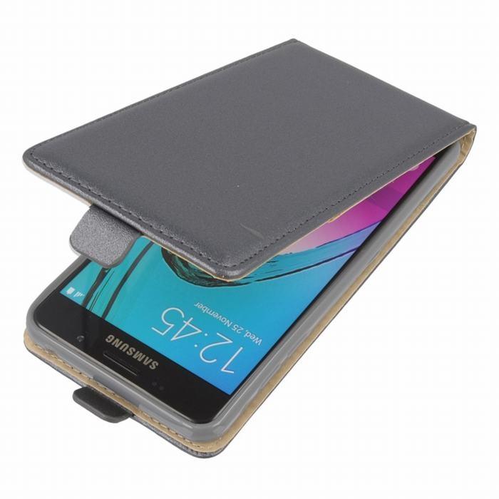 Leather Pocket Flip Case - вертикален кожен калъф с джоб за Samsung Galaxy A3 (2016) (сив)
