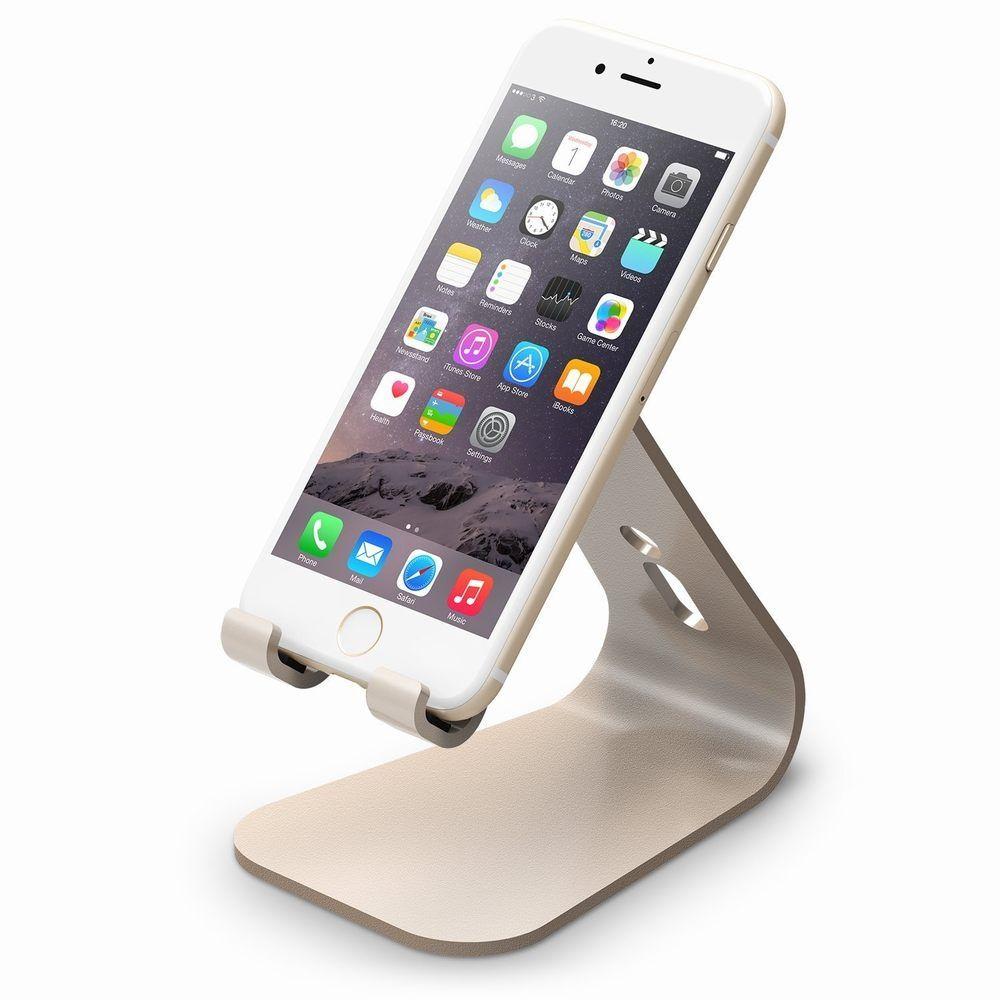 Elago M2 Stand - алуминиева поставка за iPhone 6/6S, 6 Plus/6S Plus, iPhone SE/5/5S/5C и мобилни телефони (златиста)