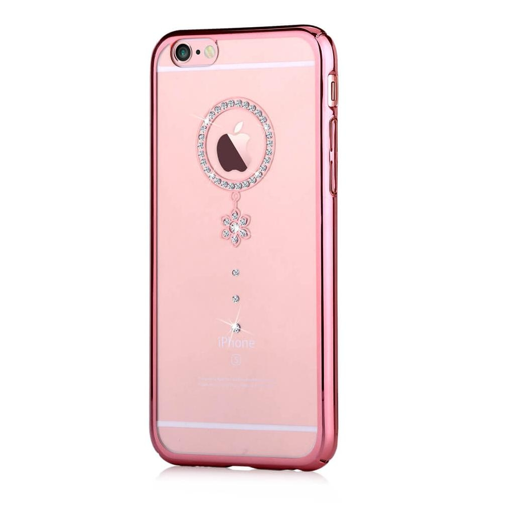Comma Crystal Camelia Case with Swarovski Elements for iPhone 6, iPhone 6S (rose gold with white crystals)