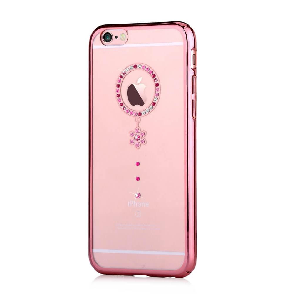 Comma Crystal Camelia Case with Swarovski Elements for iPhone 6, iPhone 6S (rose gold red crystal)