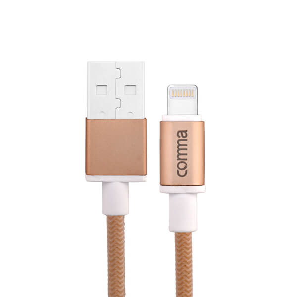 Comma Easy Cable MFI Lightning Data Cable 1m. (gold)