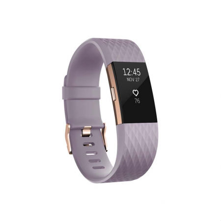 Fitbit Charge 2 Lavender Rose Gold Large Size Wireless Activity and Sleep for iOS and Android