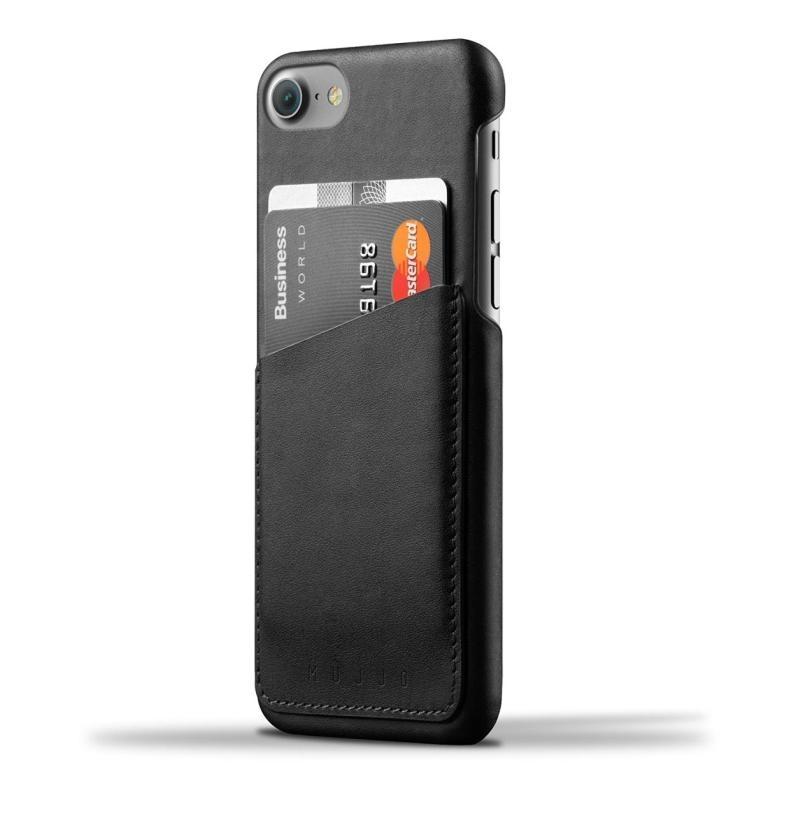 Mujjo Leather Wallet Case - кожен (естествена кожа) кейс с джоб за кредитна карта за iPhone 8, iPhone 7 (черен)