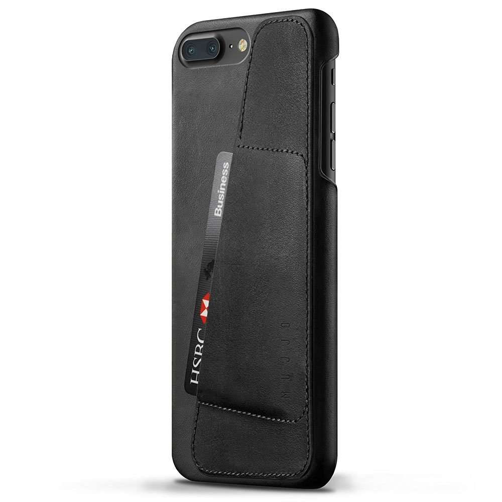 Mujjo Leather Wallet Case for iPhone 8 Plus, iPhone 7 Plus (black)