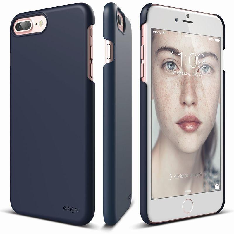Elago S7 Slim Fit 2 Case + HD Clear Film - поликарбонатов кейс и HD покритие за iPhone 8 Plus, iPhone 7 Plus (тъмносин)