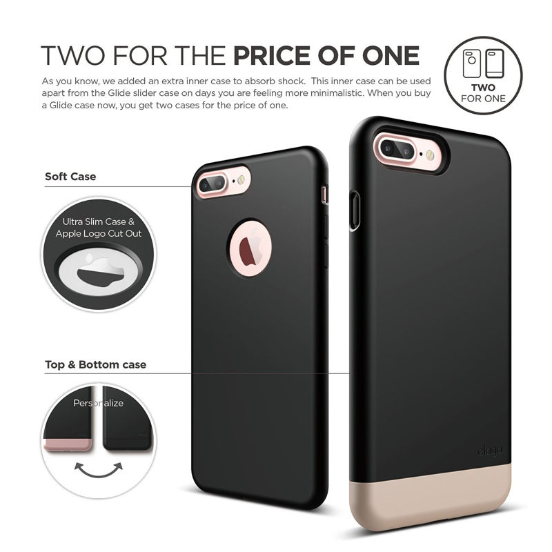 buy popular 0a04f 9bfbd Elago S7 Glide Case + HD Clear Film - поликарбонатов кейс и HD покритие за  iPhone 8 Plus, iPhone 7 Plus ...