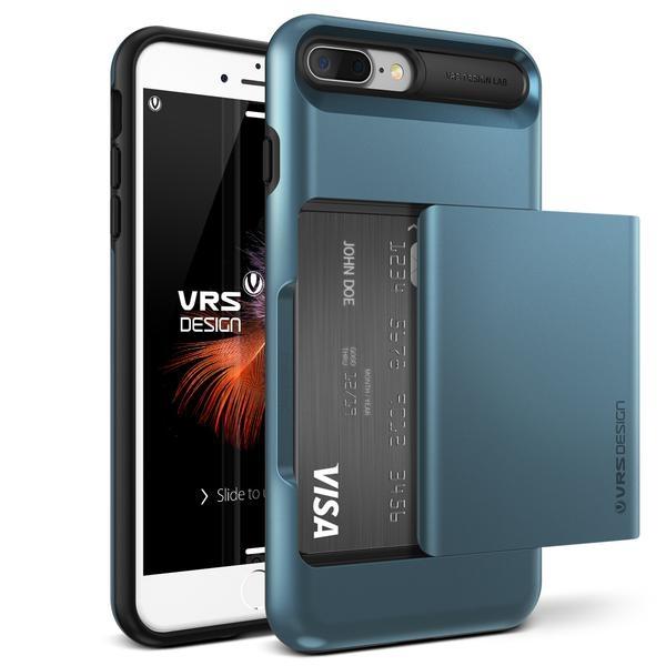 Verus Damda Glide Case - висок клас хибриден удароустойчив кейс с място за кр. карти за iPhone 8 Plus, iPhone 7 Plus (син)