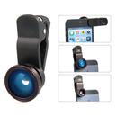 Комплект лещи GK-001 Fish Eye, Wide Angle и Macro за iPhone, смартфони и таблети (син)