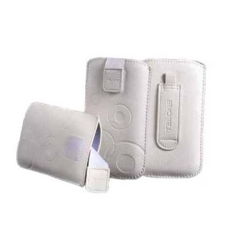 Telone Deko 1 Pouch Size 11 - вертикален кожен калъф, тип джоб с лента за издърпване за iPhone 4/4S, iPhone 2G/3G/3GS, Samsung i8160, S5830 и други (бял)
