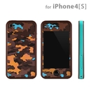 Tunewear Poptune Camo - art stickers plus a matching bumper frame for iPhone 4/4S (brown-blue)