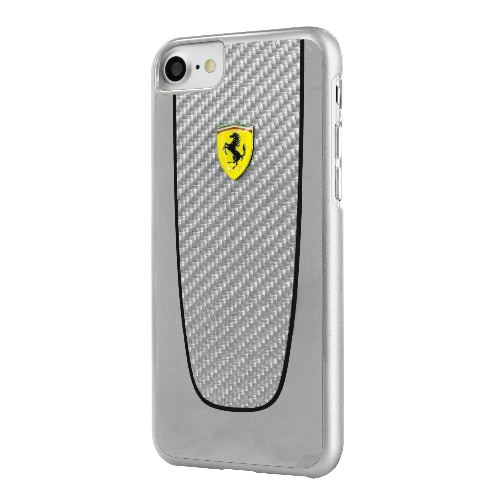 Ferrari Carbon Fiber Hard Case - дизайнерски карбонов кейс за iPhone 8, iPhone 7 (сребрист)