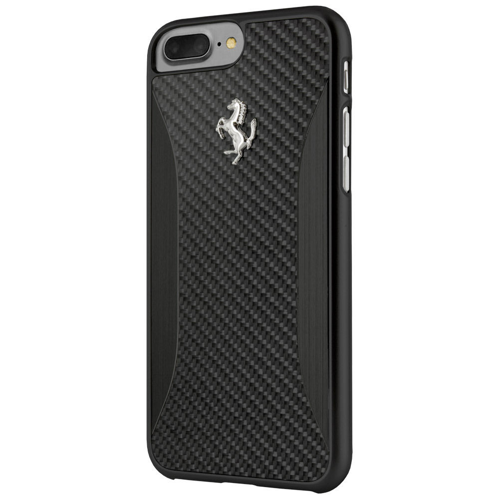 Ferrari Carbon Fiber Hard Case - дизайнерски карбонов кейс за iPhone 8 Plus, iPhone 7 Plus (черен)