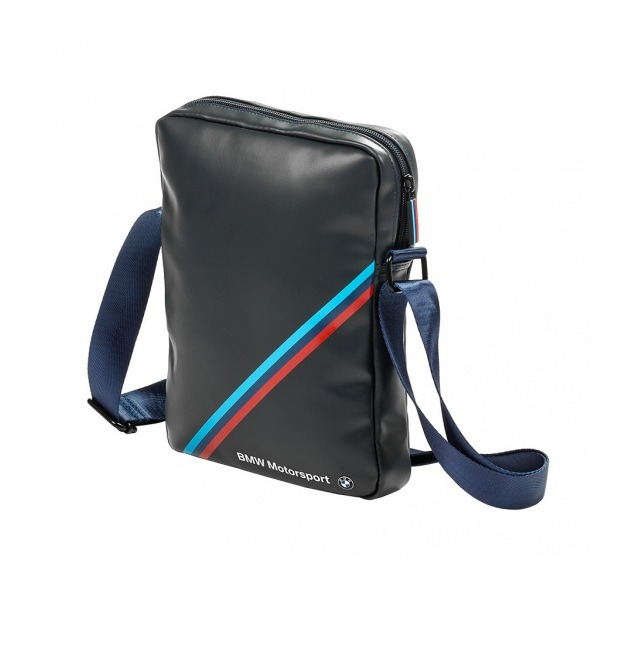 BMW Tablet Bag Tricolor Stripe - оригинална дизайнерска чанта с презрамка за таблети до 10.2 инча син)
