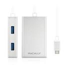 Macally 3.1 USB-C to USB A hub - 4ри портов USB хъб от устройства с USB-C към 4xUSB-A (бял)