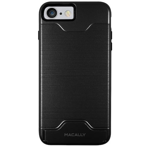 Macally KStand Case - хибриден удароустойчив кейс със слот за кр. карта и поставка за iPhone 8, iPhone 7 (черен)