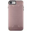 Macally KStand Case - хибриден удароустойчив кейс със слот за кр. карта и поставка за iPhone 7 (розово злато)