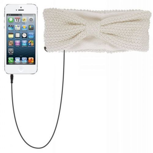 KitSound Audio Bow Headband with Built-In On-Ear Headphones in cream