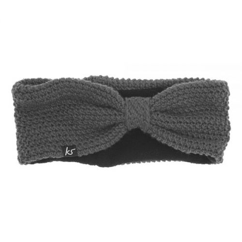 KitSound Audio Knitted Bow Headband with Built-In On-Ear Headphones in Grey