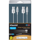 Infapower Lightning to USB Twin Cables - комплект 2 броя USB кабели за iPhone 7, 7 Plus, iPhone 6/6S, 6/6S Plus, 5/5S/SE/5C, iPad 4, Air, Air 2, iPad Pro, iPad mini