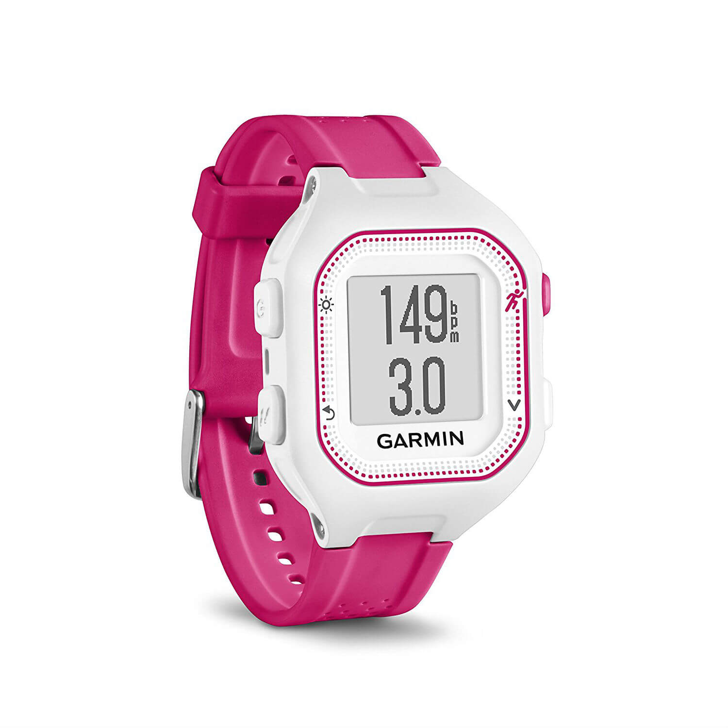 Garmin Forerunner 25 Easy-to-use GPS Running Watch with Smart Notifications (white-pink)
