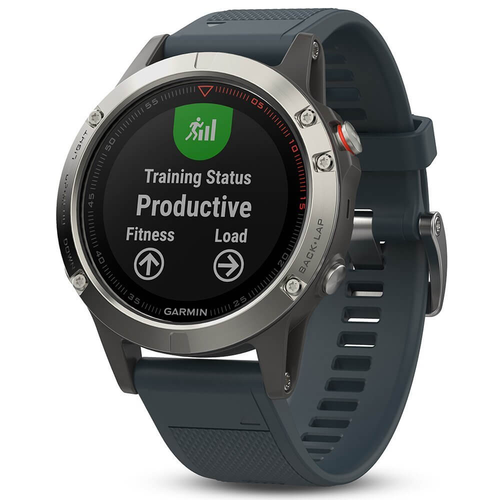 Garmin Fenix 5 - Multisport GPS Watch for Fitness, Adventure and Style (silver with granite blue band)