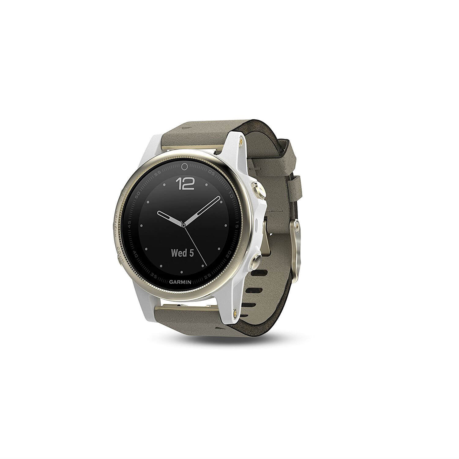 Garmin Fenix 5S Sapphire - Multisport GPS Watch for Fitness, Adventure and Style (champagne with gray suede band)