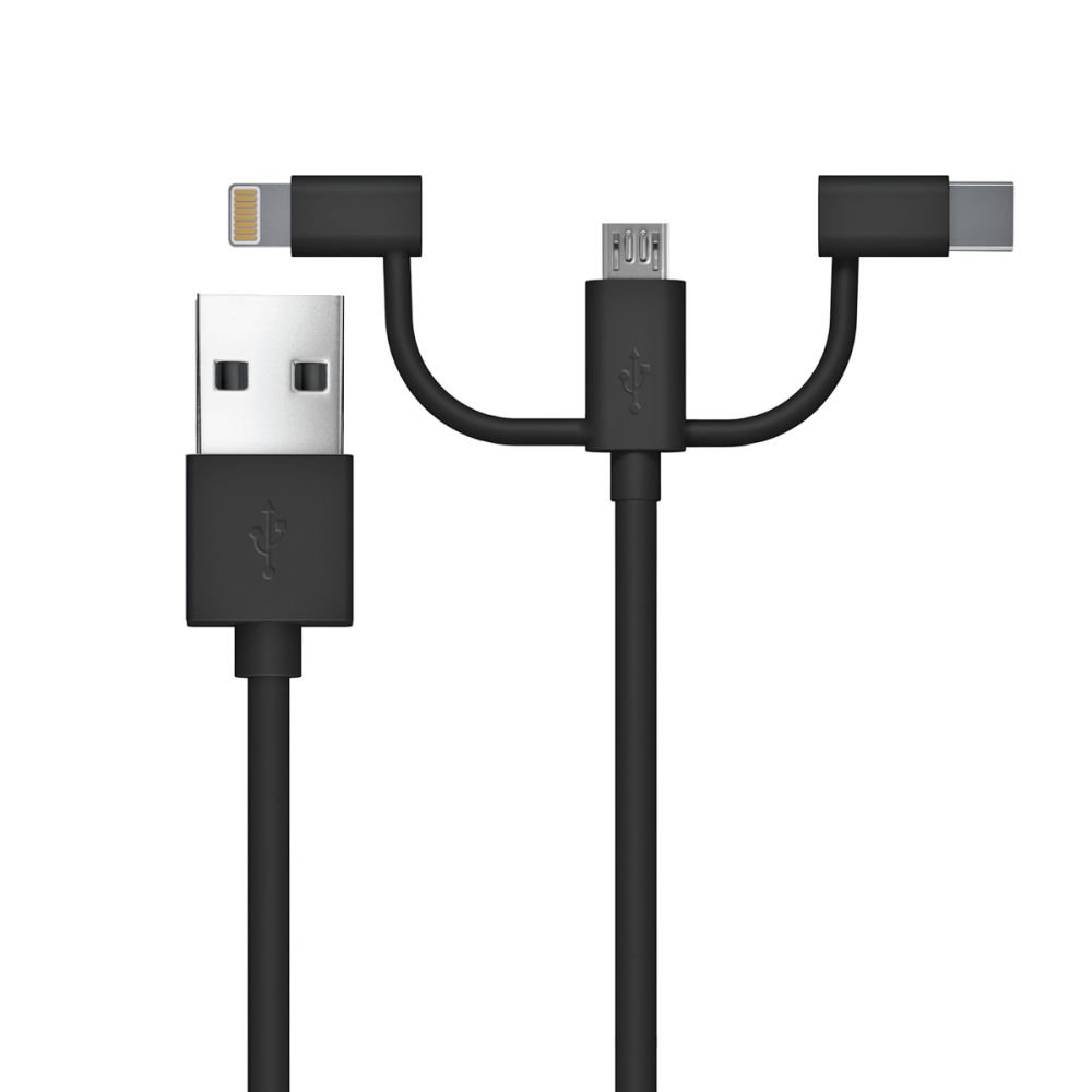 Just Wireless 3in1 Lightning, MicroUSB and USB-C Charge and Sync Cable (2.0m.) (black)